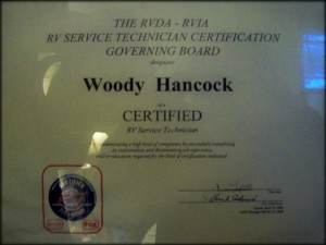 Woodrow Hancock RVIA RVDA Certification