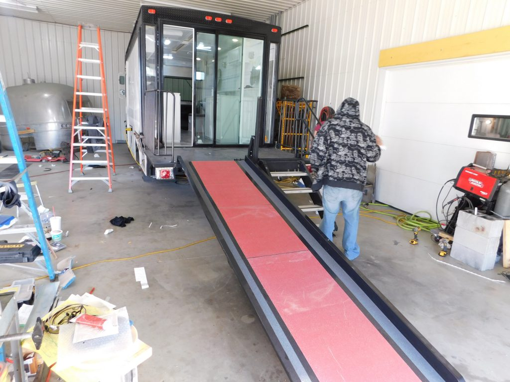 Custom mobile hair-salon-finished-outside with wheelchair ramp